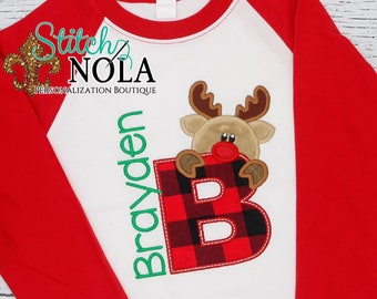 Christmas Alpha Reindeer Applique, Reindeer With Letter, Personalized Christmas Shirt, Buffalo Plaid Holiday Shirt, Xmas