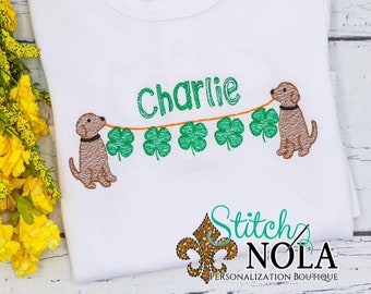 Dog with Shamrock String Sketch Embroidery, Shamrock on a Line, St Patricks Day Shirt, Four Leaf Clover, Dog with Clover