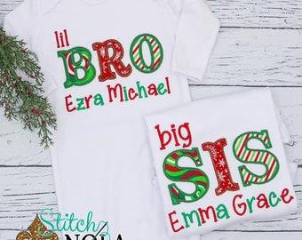 Big Sis Christmas Theme Applique, Lil Bro Christmas Theme Applique, Christmas Sibling Applique
