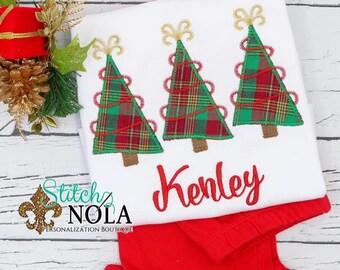 Christmas Tree Trio Applique Top And Bottom Set, Christmas Tree Applique, Christmas Applique, Personalized Christmas Tree Applique Outfit