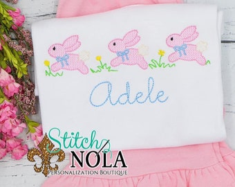 Girl Bunnies in Flowers Trio Top And Bottom Set, Easter Sketch Embroidery, Spring Embroidery, Easter Outfit, Bunny Outfit