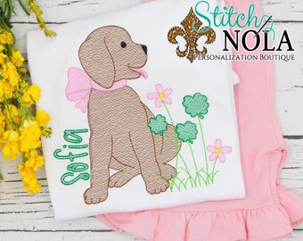 Puppy With Clover Patch Top And Bottom Set, Dog and Shamrocks, St Patrick's Day Embroidery, St Patty's Day Outfit, St Patrick's Outfit