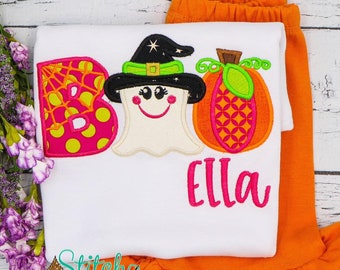 BOO Applique Shirt and Bottom Set, Witch, Ghost, Pumpkin Applique, Halloween Applique, Halloween Outfit