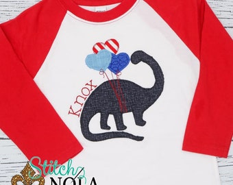 Dinosaur With Heart Balloons Applique, Dino Applique, Valentines Day Applique, Valentines Day Shirt