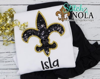 Flip Sequin Fleur De Lis Applique Shirt and Pants Set, Black and Gold Fleur De Lis Outfit, Flip Sequin Outfit