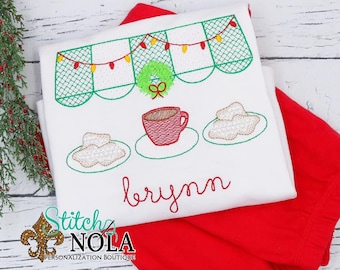 Christmas Coffee and Beignets Embroidery Top And Bottom Set, New Orleans Christmas Embroidery Outfit, Christmas Embroidery Outfit