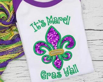 Its Mardi Gras Y'all Flip Sequins Mardi Gras Fleur de lis Applique, Mardi Gras Applique, Mardi Gras Shirt, Fleur de lis Shirt