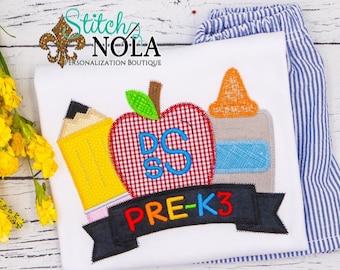 Back to School Applique Shirt and Shorts Set, Monogrammed School Shirt, Pencil, Apple and Glue Trio Shirt