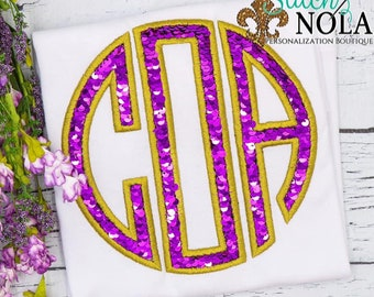 Flip Sequins Circle Monogram Applique, Sequined Applique, Sparkly Monogram Applique, Monogram