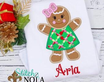 Gingerbread Girl Applique, Christmas Applique, Xmas Shirt, Christmas Shirt, Holiday Applique
