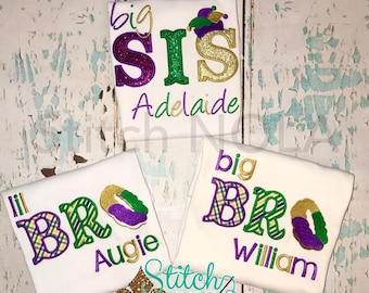 Mardi Gras Themed Sibling Set, Big Bro, Lil Bro, Big Sis, and Lil Sis Applique, Sibling Set, Mardi Gras Baby, Brother and Sister Set