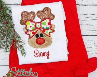 Reindeer with Polka Dot Bow Applique Shirt and Pants Set, Girl Reindeer Outfit, Reindeer with Bow Shirt