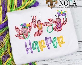 Mardi Gras Crawfish With Beads Trio, Crawfish Sketch Embroidery, Cajun Mardi Gras Shirt, Mardi Gras Shirt