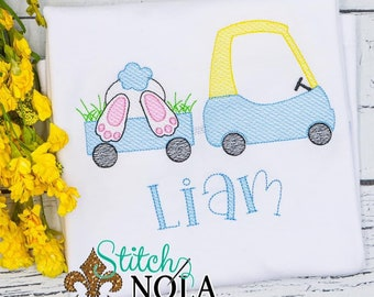 Easter Coupe With Bunny Wagon Sketch, Bunny Easter Sketch, Easter Embroidery, Boy Spring Embroidery, Boy Easter Shirt