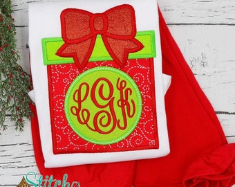 Christmas Present Monogram Applique Top and Bottoms Set, Christmas Outfit, Christmas Monogram