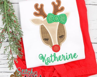 Girl Reindeer Applique Top and Bottom Set, Reindeer With Glitter Bow Outfit, Christmas Applique Outfit