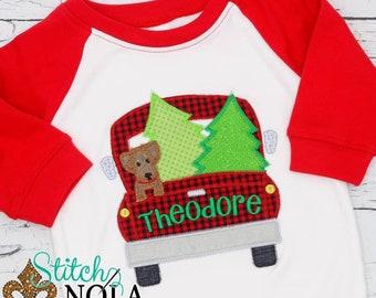 Winter Truck Applique, Dog And Tress In Truck Applique, Christmas Tree Applique, Dog And Truck Embroidery,Christmas Shirt, XMAS Shirt