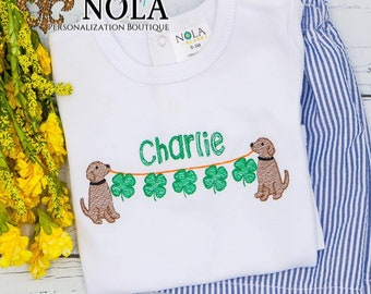 Dog with Shamrock String Sketch Top And Bottom Set, Shamrock on a Line, St Patricks Day Shirt, Four Leaf Clover,  St Patrick's Outfit