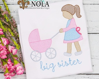 Big Sister Sketch Personalized, Vintage Baby Carriage , Big Sister Embroidery, Big Sister Shirt