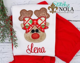 Reindeer Applique Outfit, Reindeer with Bow Applique, Girl Reindeer Applique, Top and Bottom Set, Christmas Applique