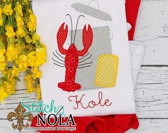 Crawfish Boil Applique Top and Bottom Set, Crawfish Boil Shirt, Spring Applique, Crawfish Applique, Crawfish shirt