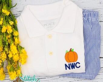 Pumpkin Collared Shirt & Seersucker Shorts Set, Pumpkin Shirt, Monogram Outfit, Fall Outfit