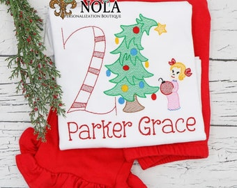 Sketch Green Monster Girl Birthday Embroidery Top And Bottom Set,  Vintage Christmas Shirt, Xmas Tree Embroidery, Christmas Outfit