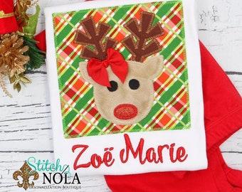Reindeer Applique Top And Bottom Set, Christmas Reindeer Applique, Rudolph Applique, Personalized XMAS Applique, Personalized XMAS Tee