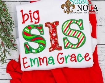 Big Sis Christmas Theme Top And Bottom Set, Big Sis Christmas Outfit, Red And Green Big Sister Outfit