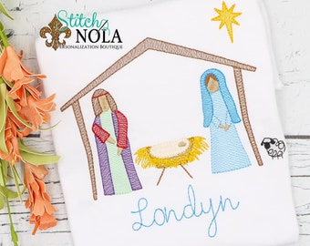 Jesus In Manger Sketch, Jesus, Mary and Joseph in Manger, Christ is Born Embroidery