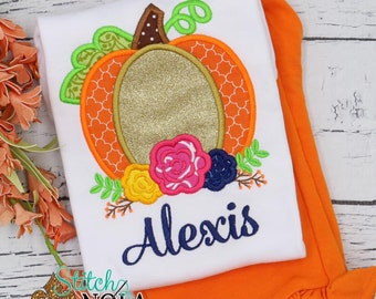 Floral Pumpkin Applique Top And Bottom Set, Pumpkin Applique, Fall Applique, Thanksgiving Pumpkin, Pumpkin with Flowers Outfit