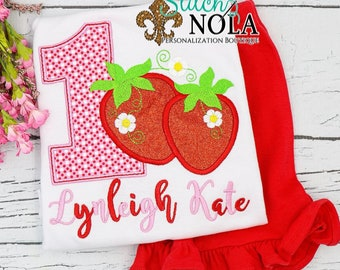 Strawberry Birthday Applique Top And Bottom Set, Strawberry Applique Outfit, Birthday Number Applique, 1st Birthday Outfit