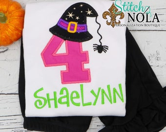 Halloween Birthday Top and Bottom Set, Witch Hat Birthday Outfit