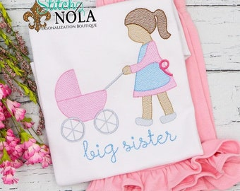 Big Sister Embroidery Shirt and Shorts, Vintage Baby Carriage Shirt, Big Sister Embroidery, Big Sister Outfit, Big Sister Shirt