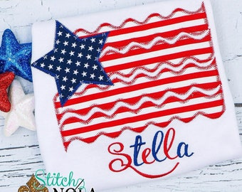 American Flag Applique, 4th Of July Applique, Stars And Stripes Applique, USA Applique