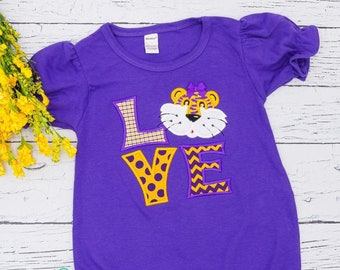 Tiger LOVE with Bow Applique, Tiger Football, Tiger Cheer
