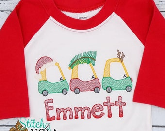 Christmas Coupe Trio Sketch, Coupe Cars Sketch Embroidery, Coupe With Santa Hat, Tree And Antlers, Boys Christmas Shirt