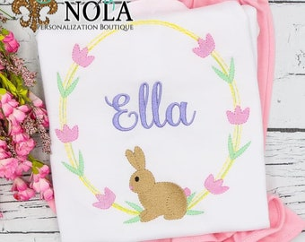 Bunny Flower Wreath Embroidery Top And Bottom Set, Bunny Wreath Monogram, Easter Embroidery, Spring Embroidery, Girl Easter Outfit