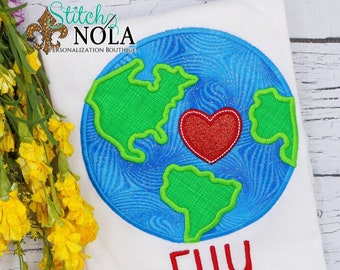 Earth Applique, Globe Applique, Love the World Applique, World Applique Shirt