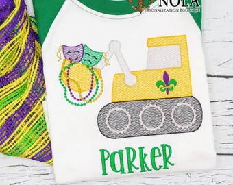 Bulldozer Mardi Gras Sketch Personalized, Mardi Gras Outfit, Fleur de Lis and Beads Embroidery, Boy Mardi Gras Outfit