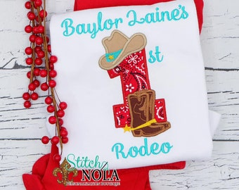 Cowgirl Birthday Applique Top And Bottom Set, 1st Birthday Outfit, Cowboy Boots And Hat Applique,  Country Birthday Number Outfit