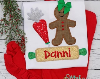 Gingerbread Girl Christmas Cookie Applique Top And Bottom Set, Christmas Cookie Applique, Gingerbread Girl Applique
