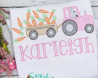 Easter Tractor With Carrot Wagon Sketch, Bunny Easter Sketch, Easter Embroidery, Boy Spring Embroidery, Girl Easter Shirt