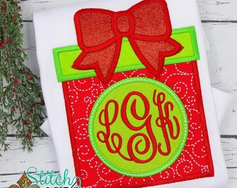 Christmas Present Monogram Applique, Christmas Present, Monogram