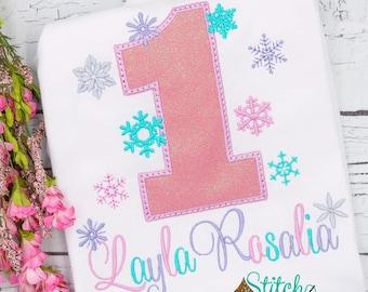 Snowflake Birthday Number Applique, Winter Birthday, Winter Wonderland Birthday