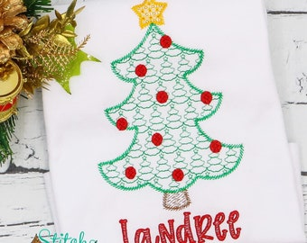 Vintage Christmas Tree Motif Embroidery, Christmas Sketch Design, Christmas Tree Embroidery, Holiday Shirt, Xmas Outfit