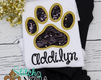 Flip Sequins Paw Print Applique Top And Bottom Set, Sequined Paw Print Applique, Sparkly Paw Print Applique, Black and Gold Sequins