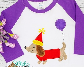 Dachshund with Party Hat Applique, Dachshund Birthday Applique, Dachshund Applique, Weenie Dog Birthday Applique