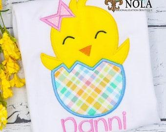 Girl Chick in Easter Egg Applique, Easter Applique Shirt, Chick with Bow Applique, Spring Applique Shirt, Girl Easter Shirt