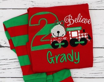 PRE-ORDER Believe Train Birthday Applique, Believe Train Birthday Personalized Christmas Pajamas, Kids Christmas Pajamas, Polar Express PJs